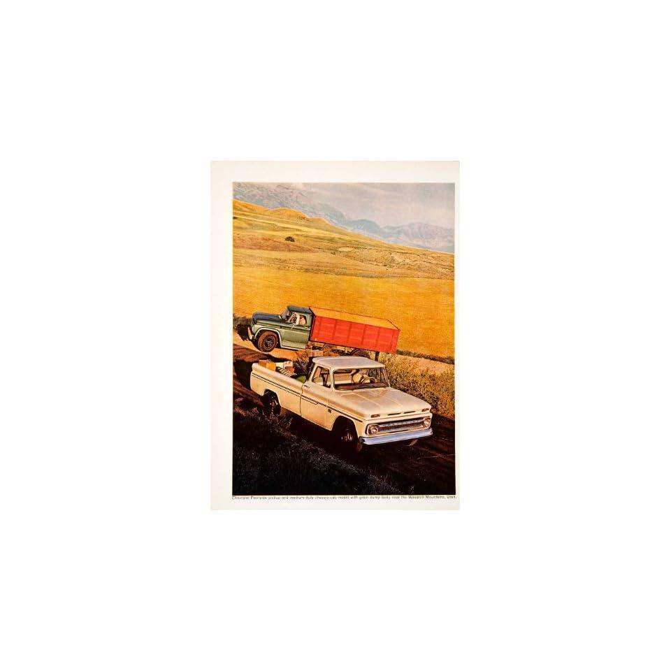 1966 Ad Vintage Chevrolet Engine Fleetside Pickup Truck Farming Grain Crop Utah   Original Print Ad