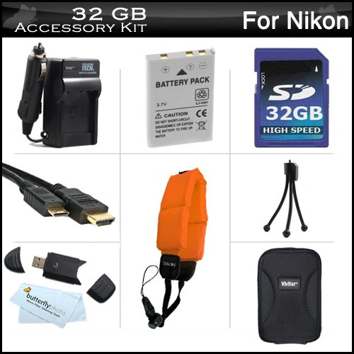 32GB Accessories Kit For Nikon COOLPIX AW110, AW100 Waterproof Digital Camera Includes 32GB High Speed SD Memory Card + Extended Replacement (1050 MAh) EN-EL12 Battery + AC/DC Travel Charger + Mini HDMI Cable + USB 2.0 Card Reader + Case + FLOAT STRAP +++