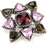 Judith Jack Gift Boxed Pink and Red Corundum Pin