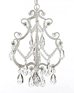 Wrought Iron and Crystal 1 Light Chandelier Pendant White Fixture Lighting Ceiling Lamp Hardwire and Plug In