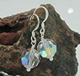 Jewellery earrings 30x10mm crystal-AB silver 925