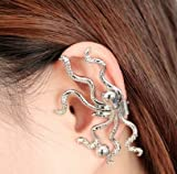 Vintage Punk Octopus Earring Ear Stud Cuff Handcrafted Squid Left Ear,idea for party gathering or gift (Silver)