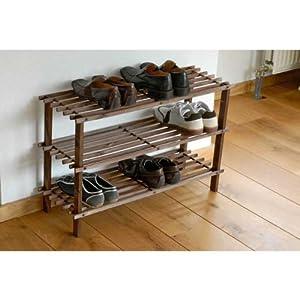 schuhregal echt holz 49x26 5x74cm regal schuhe holzregal. Black Bedroom Furniture Sets. Home Design Ideas