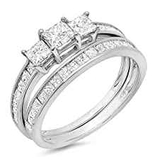 buy 1.75 Carat (Ctw) 14K White Gold Princess Diamond Ladies Bridal 3 Stone Engagement Ring Matching Wedding Band Set 1 3/4 Ct (Size 6.5)
