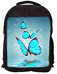 Snoogg Blue Butterfly Digital Backpack Rucksack School Travel Unisex Casual Canvas Bag Bookbag Satchel
