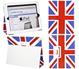 ITALKonline PADWEAR RED WHITE BLUE UNION JACK FLAG Multi Function Multi Angle Luxury Executive Wallet Stand Cover Typing Case with Magnetic Sleep Wake Sensor Feature For Apple iPad 2 2nd Generation (Wi-Fi and Wi-Fi + 3G) 16GB 32GB 64GB