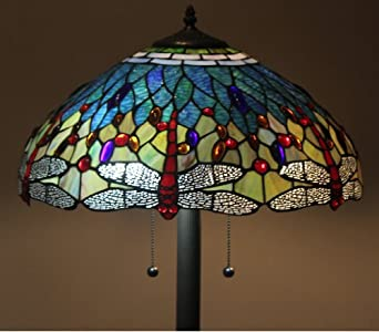 tiffany style stained glass floor lamp dragonfly. Black Bedroom Furniture Sets. Home Design Ideas