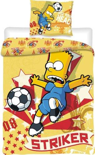 Jerry Fabrics JF010 - Parure da letto, con copripiumino e 1 federa per cuscino, motivo: Bart Simpson che gioca a calcio, 140 x 200 & 70 x 90 cm