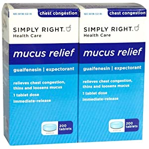 Simply Right Mucus Relief, Guaifenesin 400 mg, Expectorant, 400 Tablets, Compare to Mucinex