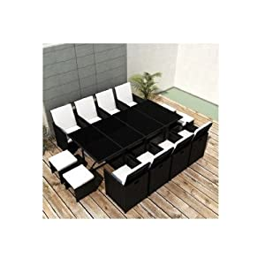 Garden Dining Set Large Black Discount Patio Furniture Sets For Outdoor Living Deck Rattan Table