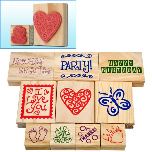 BSS - Trademark GamesT Wood Mounted Rubber Stamp Set - 10 pc.