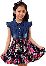 TM Girls39 Lapel Denim Button Stitching Flowers Sleeveless Pleated Dress