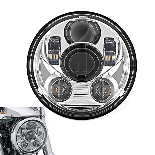 Funlove Chrome 5.75 Inch Round LED Projection Daymaker Headlight for Harley Davidson Motorcycles Lights