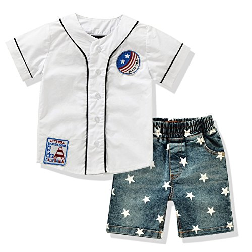 Ferenyi US Toddler's Clothes Boy's Short Sleeved Shirts and Denim Shorts Sets (4 years, White) (Summer Toddler Clothes compare prices)