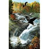 1000ピース ワシ達の紅葉狩り(eagles at the Waterfall)