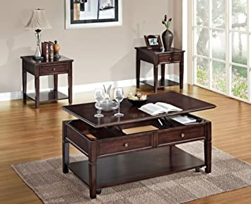 Malachi walnut finish wood lift top coffee table with storage underneath the top and lower shelf