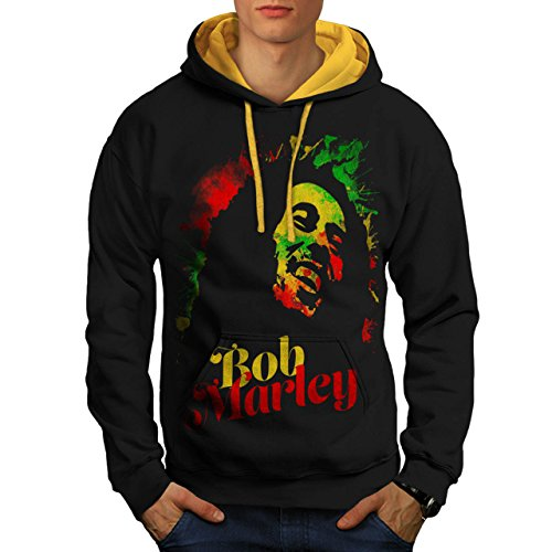 bob-marley-musik-spass-reggae-held-herren-neu-schwarz-golden-kapuze-m-kontrast-kapuzenpullover-wellc