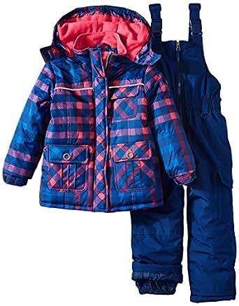rugged bear girls 39 snowsuit with plaid coat. Black Bedroom Furniture Sets. Home Design Ideas