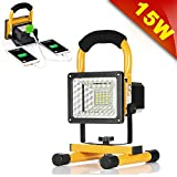 [15W 24LED] Rechargeable Work Lights, GRDE Outdoors Camping Emergency Lights with SOS Mode, Portable Floodlights with Built-in Lithium Batteries and 2 USB Ports to Charge Digital Devices (Yellow)