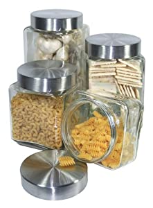 grant howard 50400 clear glass canisters with brushed
