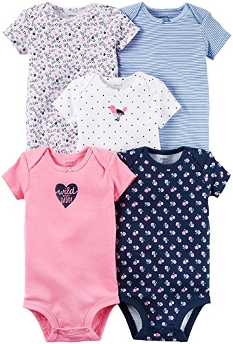 Carter's Baby Girls 5 pc Multi-Pack Bodysuits 126g330, Assorted, 24 Months