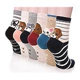 Dosoni Girl Cartoon Animal Cute Casual Cotton Novelty Crew socks 6 packs-Gift Idea (Cute Dogs)