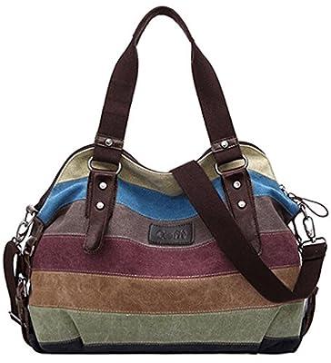 Multicolore en toile rayée sacs à main pour femmes et Hobos Sacs à bandoulière