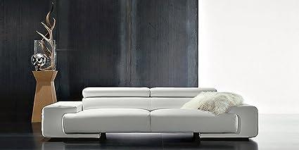 Calia Maddalena - Fauteuil 140x64/92x100cm pour Canapé contemporain confortable Lady, Cuir Fleur Corrigée Blanc Casse