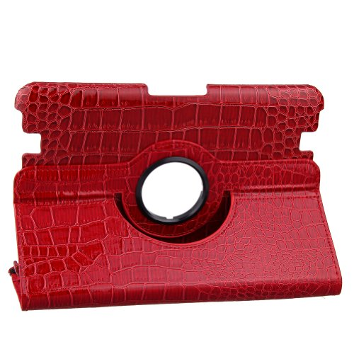 TOPCHANCES Red CROCO PU Leather Case for 2012 Kindle Fire HD 8.9 Inch with Smart Auto Wake / Sleep Capability and 360 Degree Rotating Stand