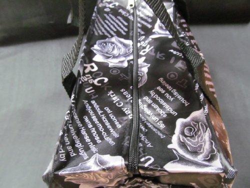 Fat-Catz Femme Sac À Main Fourre-tout Week-end Nuit Motif Roses Fleurs Noires Mode Style Soyeux - Posté de Londres