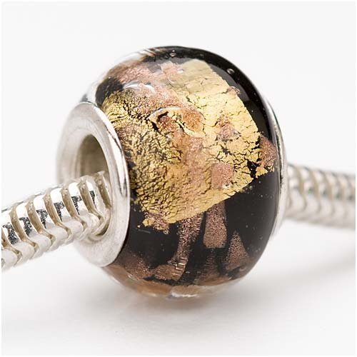 Murano Style Glass Silver & Gold Foil Lampwork Bead Fits Pandora Black 13mm (1)