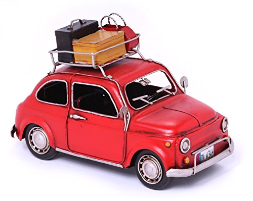 Model Car Fiat 500 red with Baggage - Retro Tin Model