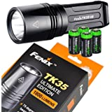 FENIX TK35 Ultimate Edition (TK35UE) 1800 Lumen CREE MT-G2 LED Tactical Flashlight with 4 X EdisonBright CR123A Lithium batteries, Holster & Lanyard bundle
