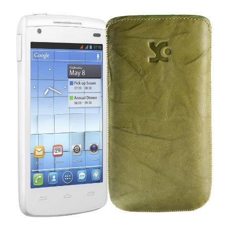 Original Suncase Tasche fuer / Alcatel One Touch 992D (Dual-Sim) / Leder Etui Handytasche Ledertasche Schutzhuelle Case Huelle - Lasche mit Rueckzugfunktion* In Wash-Gruen