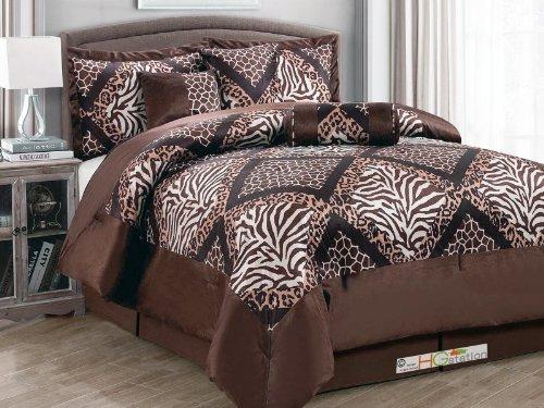 7-Pc Faux Fur Microfiber Safari Zebra Leopard Giraffe Patchwork Comforter Set Queen front-1067645