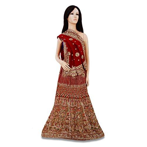 weinlese braut lehenga set hand perlen stoff kastanienbraun ethnische indischen hochzeitskleid. Black Bedroom Furniture Sets. Home Design Ideas