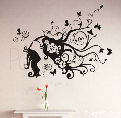 Popdecors - Flower Girl - Custom Beautiful Tree Wall Decals For Kids Rooms Teen Girls Boys Wallpaper Murals Sticker Wall Stickers Nursery Decor Nursery Decals