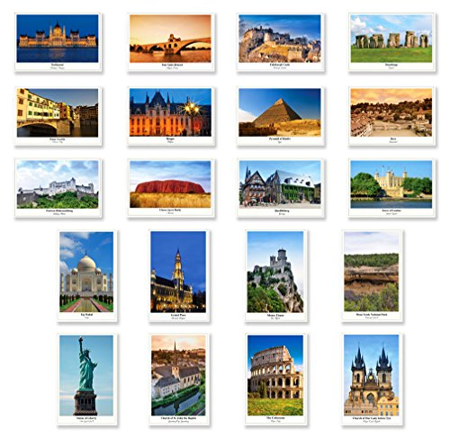 UNESCO postcard set of 20. Made in USA. Quality post card variety pack depicting UNESCO word heritage sites postcards. (World Postcards compare prices)