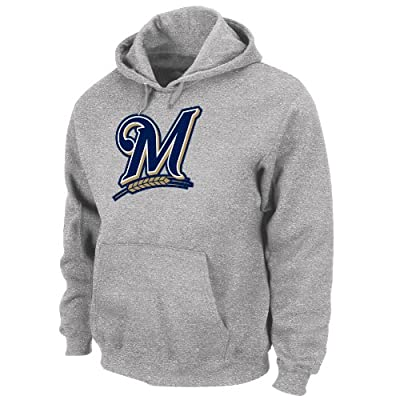 MLB Milwaukee Brewers Suede Tek Long Sleeve Hooded Fleece Pullover
