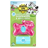 Bags on Board Marble Bone Dispenser, Pink, 30 Bags