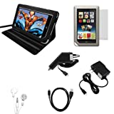 CrazyOnDigital Black Stand Leather Case with Charger and Screen Protector For Barnes & Noble Nook Tablet (7-item). CrazyOnDigital Retail Package Picture