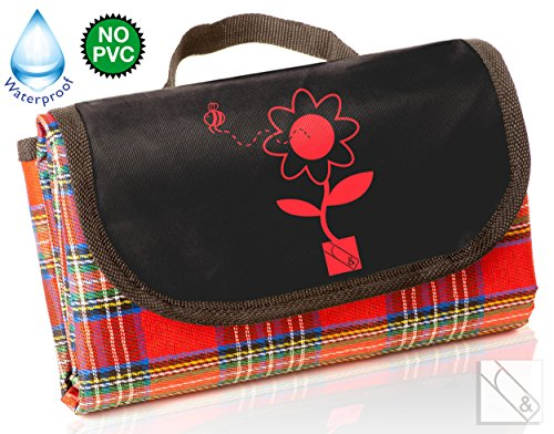 Waterproof Picnic Blanket. Compact, Fold Up 'Take Anywhere' Size. Easy To Carry To The Beach. Free Bonus E-Book. Retro Tartan Plaid Design. Large Size For Outdoor All Season Family Fun. Water Resistant Backing Keeps You Dry On Wet Grass. The Best Blanket