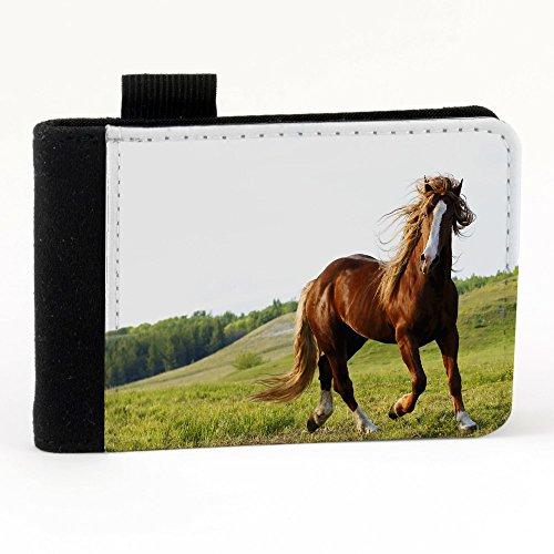 Cavalli 10018, Cavallo al Galoppo, Nero Polyester Piccolo Cartella Congressi block notes Tasca Taccuino con Fronte di Sublimazione e alta qualità Design Colorato.Dimensioni A7-131x93mm.
