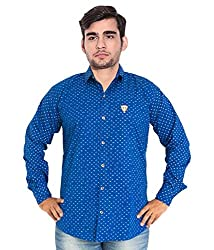 7 Buttons Men's Casual Shirt (s003_Blue_Medium)