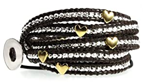 Angel Heart Silver Bead & Gold Plated Hearts on Genuine Leather Extra Long 5x Wrap Bracelet, Gift Box
