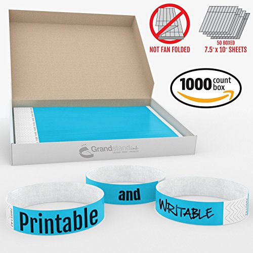 Grandstand Ink - 3/4in SKY BLUE Tyvek® Wristbands - Print & Writable Sheets in Distribution Box Paper Feel Party Event Bracelets For Churches or Schools 1000 ID Bands (100 Customizable Sheets) Per Box (100 Kisses Tickets compare prices)