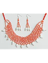 Saffron And White Beaded Necklace And Earrings - Beads
