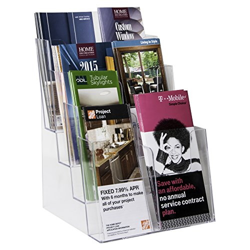 Clear-Ad - LHF-S84 - Acrylic 4 Tier Brochure Holder Organizer - Table Top or Wall Mount - 8.5 x 11 (Pack of 4)