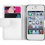JAMMYLIZARD | Housse portefeuille Classique aspect cuir pour iPhone 4 4S, Blanc