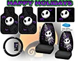 Nightmare Before Christmas Full Auto Interior Gift Set Front & Rear Floor Mats Seat Covers & Steering Wheel Jack Skellington Disney - FREE Bonus Detailing Wash Mitt